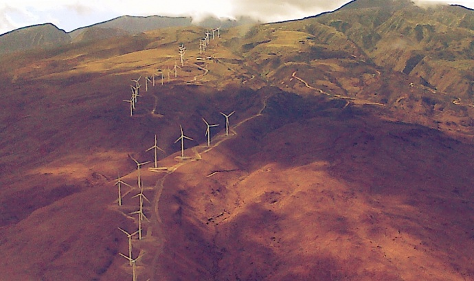 Kaheawa Wind Farm, aerial file photo by Wendy Osher.