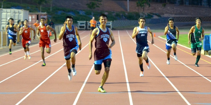 Baldwin High School's Dylan Leigh swept the boys sprints, including the 200 in a personal best of 23.01 seconds. Photo by Rodney S. Yap.