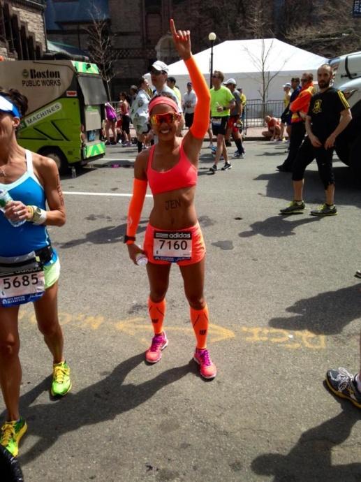 Jennifer Tom during the Boston Marathon.  Courtesy photo Jennifer Tom, via Nikki Caccamo.