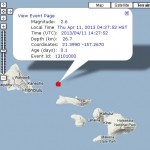 Moloka'i Earthquake, 4/11/13. Image courtesy Hawaii Volcanoes Observatory.