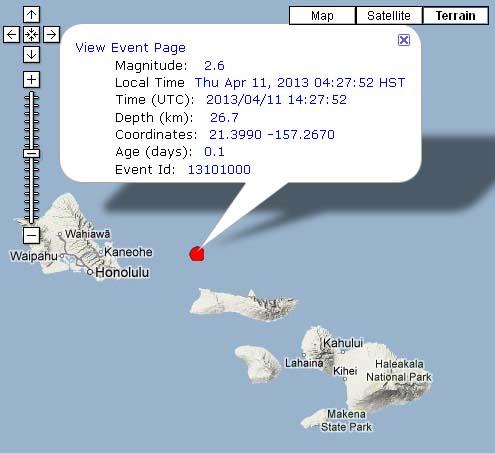 Moloka'i Earthquake, 4/11/13. Image courtesy Hawaii Volcanoes Observatory.