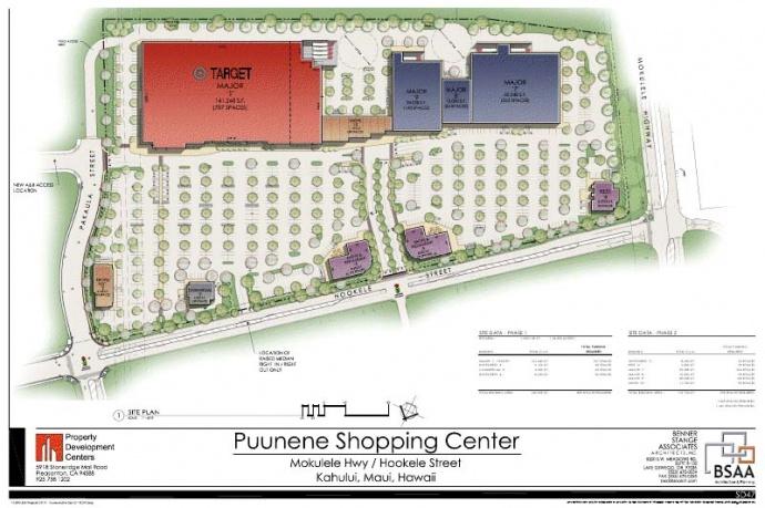 Puunene Shopping Center site plan.  Courtesy image.