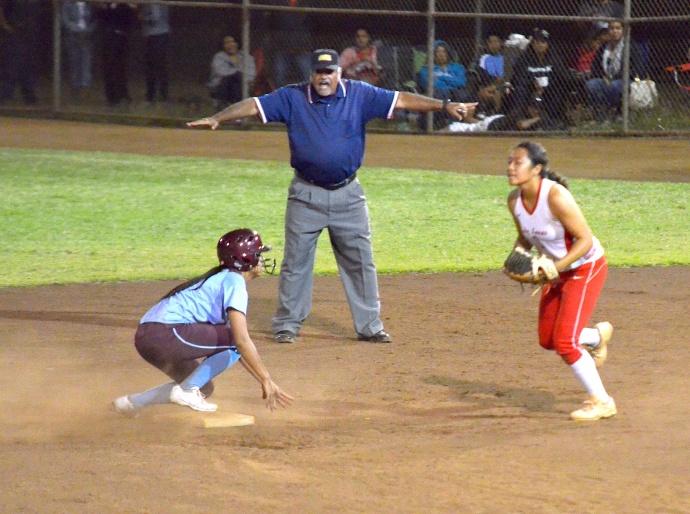Baldwin's Alysha Sakamura is ruled safe at second base by . Photo by Rodney S. Yap.