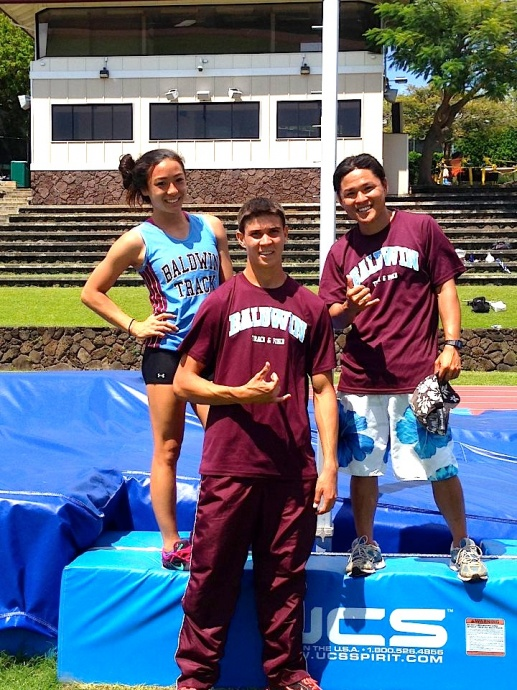 Baldwin High School's Amber Kozaki and Tyler Feiteira pose on the pole vault pit at the Punahou Relays Saturday, April 20, on Oahu. Photo by Brittany Feiteira.