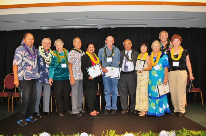 2013 OOA Nominees. The list of 11 nominees included: Henry K. Allen, Artemio C. Baxa, Takeo Miyaguchi, Pasita Pladera, Fred Ruge, Julie Shiotsugu, Ali Thompson, John Tryggestad and Robyn Walters.  Photo courtesy: County of Maui/Ryan Piros.