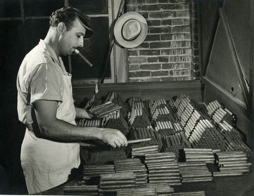 Sorting and grading - and seemingly sampling - cigars at the Corral, Wodiska & Company factory in Tampa, Florida circa 1947.