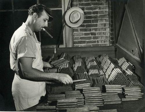 Sorting and grading - and seemingly sampling - cigars at the Corral, Wodiska & Company factory in Tampa, Florida circa 1947.