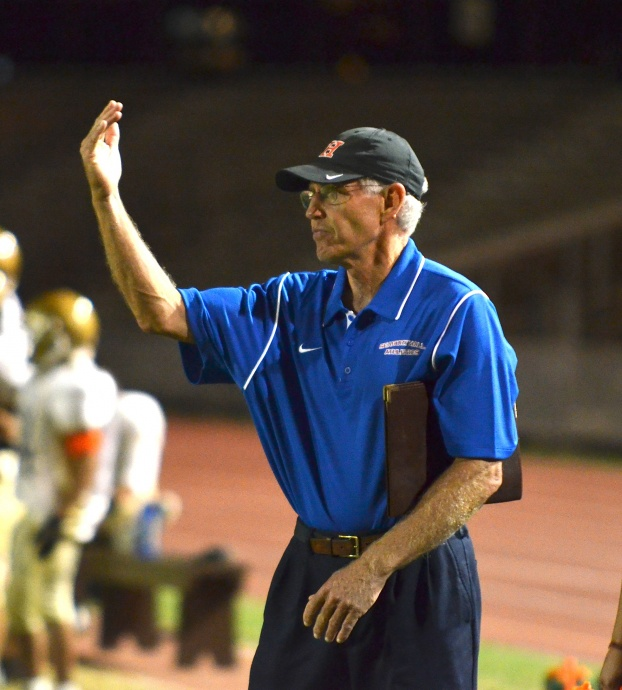 Steve Colflesh returned to the sidelines to help with the Spartans' 8-man football team. File photo by Rodney S. Yap.