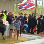 Keiki were among those holding signs at a demonstration in May that was organized in protest of a lottery for placement in the Hawaiian language immersion kindergarten at Pāʻia Elementary School on Maui. The lottery was subsequently cancelled. Photo by Wendy Osher.