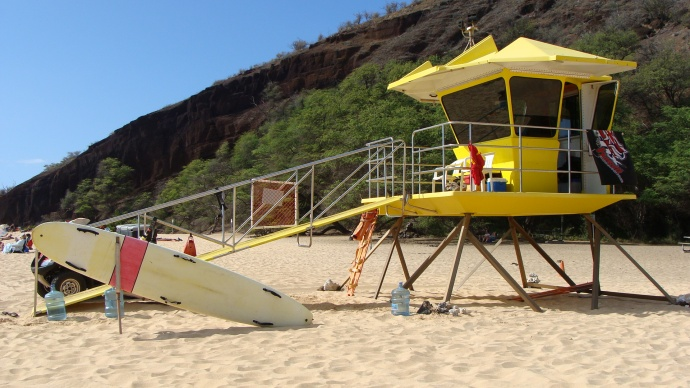 Big Beach lifeguard tower, file photo by Wendy Osher.