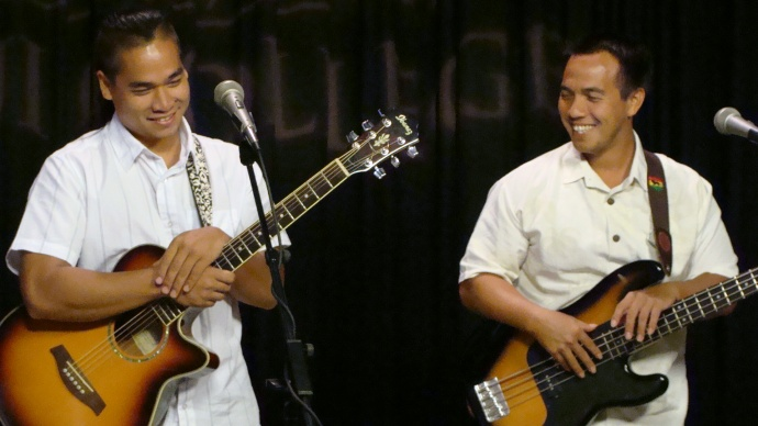 UHMC students enrolled in the Institute for Hawaiian Music performed during the Decision 2012 live election return program. File photo by Wendy Osher.