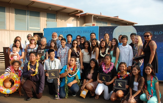 Winning group from Annual Po'ohala Essay Contest at Maui Waena Intermediate. Photo courtesy Brittany Yap.