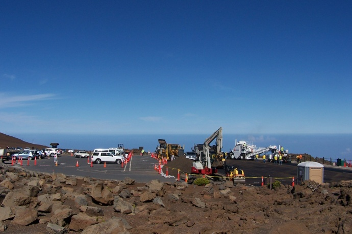 Haleakalā Visitor Center parking construction, 5/23/13 courtesy HNP.