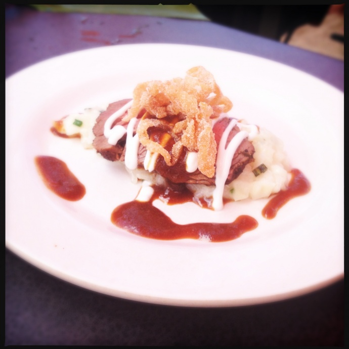"Greg Grohowski's ""Maui Onion Menage a trois"" featuring lavender-seasoned tenderloin. Photo by Vanessa Wolf"