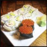 Ren's California roll and Ikura sushi. Photo by Vanessa Wolf