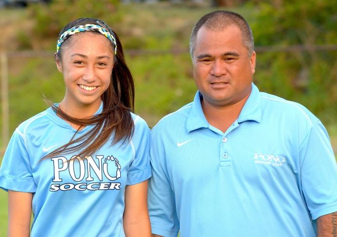 Ilihia Keawekane and '00 Pono soccer coach BJ Medeiros. Photo by Rodney S. Yap.