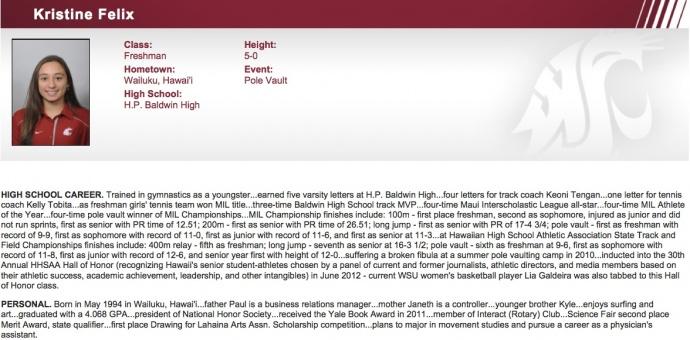 Kristine Felix Bio - The Washington State University Official Athletic Site.
