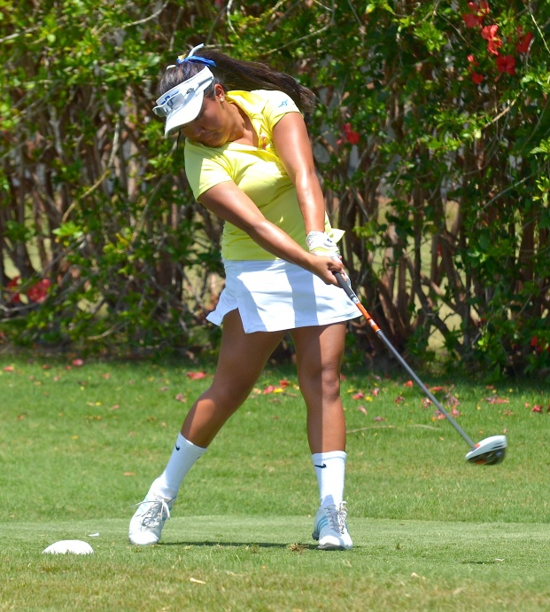 Punahou's Mariel Galdiano hits off the tee at No. 16 Wednesday at the Royal Kaanapali Golf Course. The Buffanblu freshman won the individual state championship with a two-day total of 68-69—137. Photo by Rodney S. Yap.