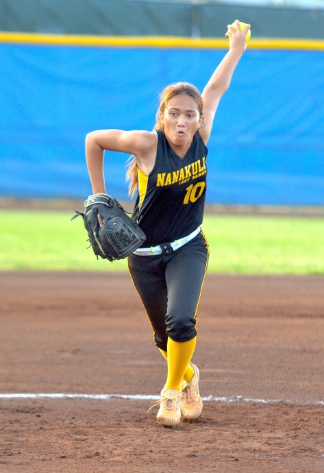 Nanakuli pitcher Chyanne Koko delivers a pitch in the second inning against Saint Francis in the state Division II girls softball championships at Patsy Mink Field. Photo by Rodney S. Yap.