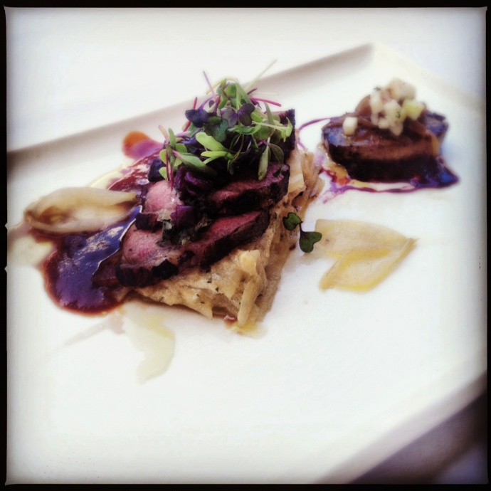 Urquidi's winning dish featured lamb and foie gras...and onions. Photo by Vanessa Wolf
