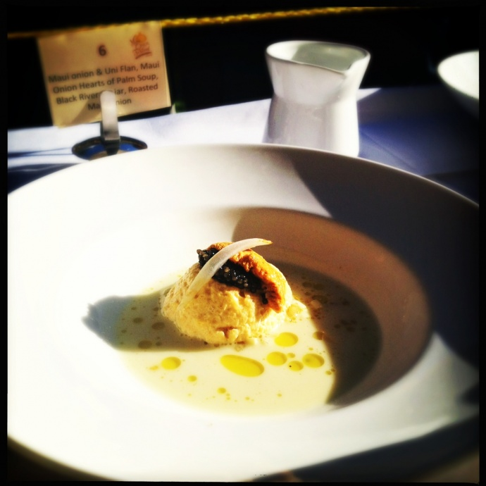 Mastrascusa's sublime Maui Onion and Uni Flan. Wow. Photo by Vanessa Wolf