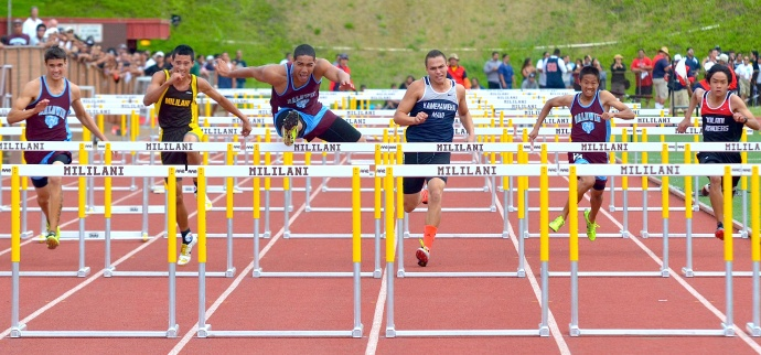 Baldwin High's Abraham Reinhardt opened the meet with a victory in the 110-meter high hurdles. Reinhardt was timed in 15.07. Kamehameha Maui's Connor Yap was third (15.51) and Tyler Feiteira of Baldwin was fourth (15.54). Photo by Rodney S. Yap.