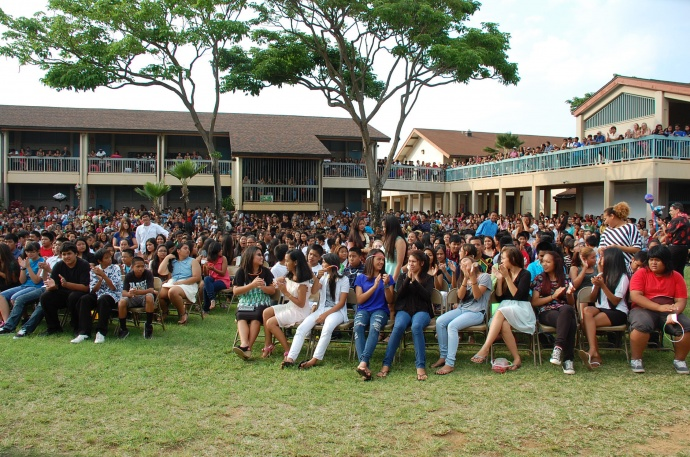 Participants in the annual Po'ohala Essay Contest at Maui Waena Intermediate. Photo courtesy Brittany Yap.
