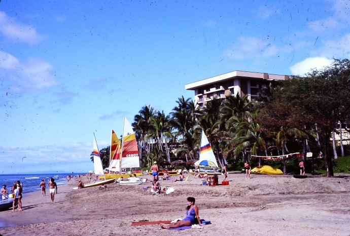 A 1982 photo of the beach by the Hyatt Regency Hotel in Ka'anapali. Photo courtesy of Theo King.