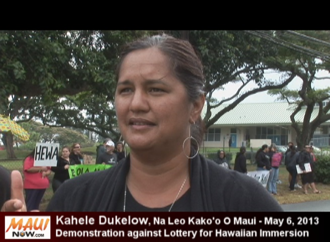 Kahele Dukelow, a parent of three Hawaiian immersion children as well as a professor of Hawaiian studies and language at Maui Community College, called the lottery system divisive, discriminatory and a threat to efforts to continue reviving the Hawaiian language. File photo by Wendy Osher.