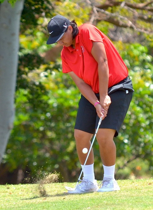 Lahainaluna's Malu Rosenthal was the highest finishing non-Oahu golfer at 12th with a two-day total of 76-73—149. Photo by Rodney S. Yap.