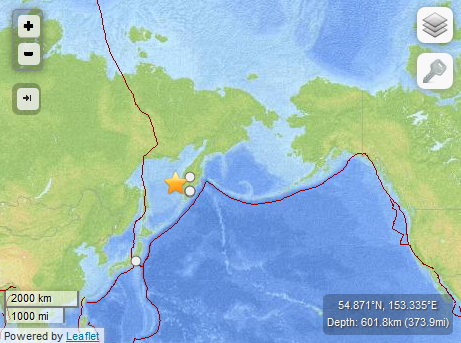 Sea of Okhotsk earthquake, 7:45 p.m. HST May 23, 2013. Map imagery courtesy USGS/ powered by Leaflet.