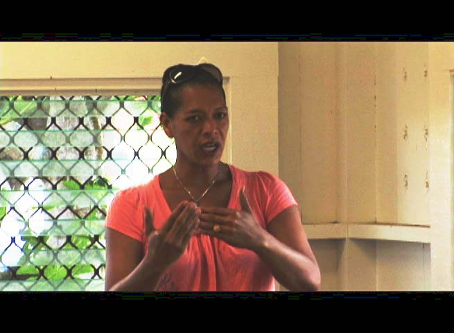 Pulama Collier, who has held various roles in the Hawaiian Immersion program since 1991, having taught at both Kalama and Kekaulike, also expressed concerns at the meeting. Photo by Wendy Osher.