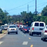 An afternoon traffic accident on the Honoapiilani at Kapunakea resulted in traffic delays near Kapunakea Street.  Photo by Vanessa Wolf.