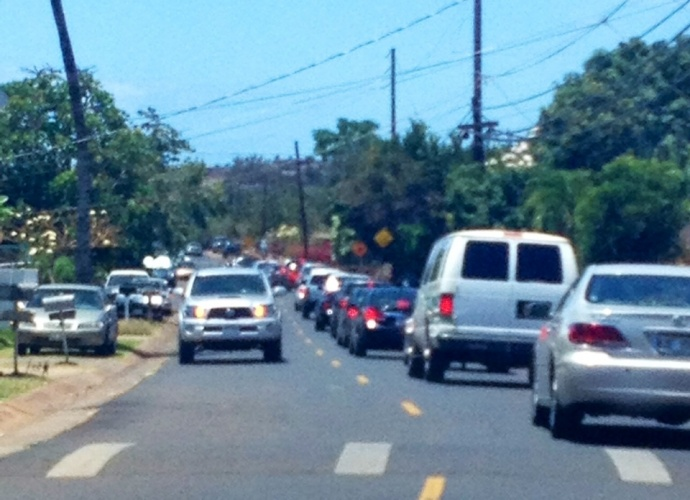An afternoon traffic accident on the Honoapiʻilani at Kapunakea resulted in traffic delays near Kapunakea Street. Photo by Vanessa Wolf.