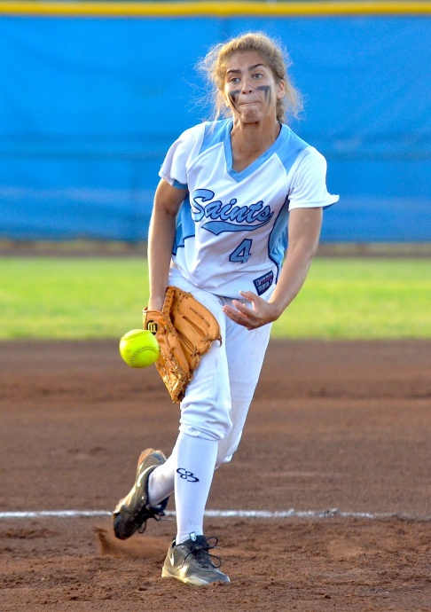 Saint Francis pitcher Shaye Simms delivers a pitch against Nanakuli in the first inning of the girls Division II state softball championships at Patsy Mink Field. Photo by Rodney S. Yap.