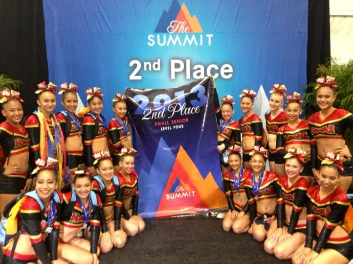 Hawaii All-Stars' Small Senior Level 4 pose with its second-place banner Sunday in Orlando, Fla. Photo by Kealii Molina.