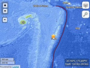 Tonga/Fiji region earthquake, 11:08 a.m. HST May 23, 2013. Map imagery courtesy USGS/ powered by Leaflet.