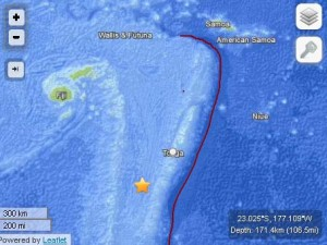 Tonga/Fiji region earthquake, May 23, 2013. Map imagery courtesy USGS/ powered by Leaflet.