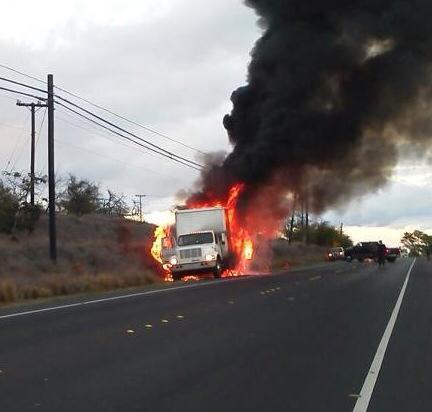 Truck fire at Launiupoko. Photo courtesy Steve Aheong.