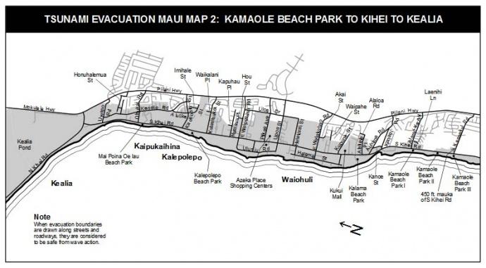 Tsunami evacuation map, South Maui area. Image courtesy County of Maui.