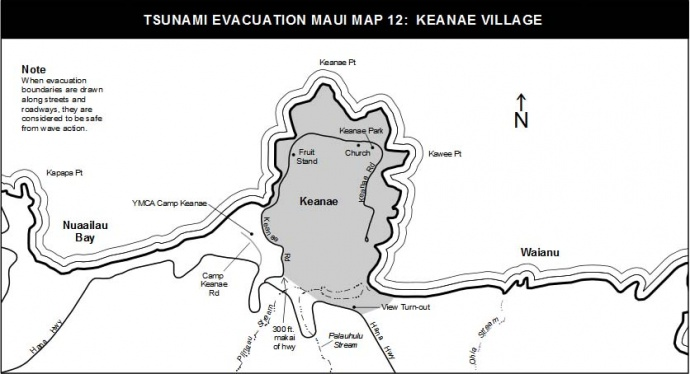 tsunami evacuation map maui keanae