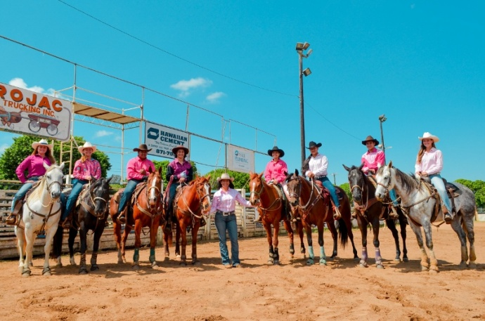 Maui's High School Rodeo Team brought home eight championship buckles led by Kanoa Awai-Dickson who captured the State All-Around title.  (L-R) Lauren Egger, Kristen Egger, Kaena Poouahi, Kanoa Awai-Dickson, District President Kau'i Awai-Dickson, Liloa Akoi, Kasey Kono, Kaulana Funes, Nikki Baroso.  (Missing:  Riley Polk).  Courtesy photo.