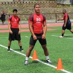 Lahainaluna's Hercules Mata'afa (50) at the 12th Annual PIAA Combine, Saturday, May 25, at Castle High School. Photo by PIAA Hawaii.
