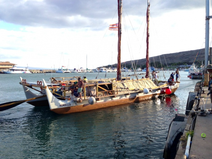 Hokulea at Māʻalaea. File photo June 2013, courtesy Jordan Smith.