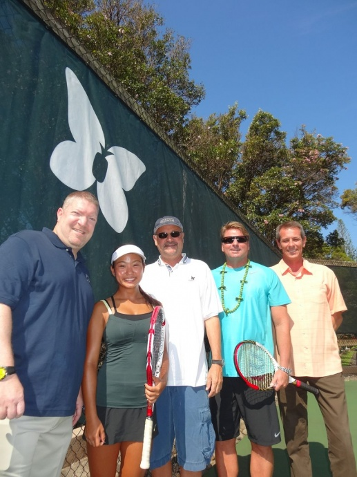 Maui Preparatory Academy's Jaylee Yasunaga poses with: from left, Johnathan Silver, Head of School/Maui Preparatory Academy; George Mackin, managing partner of Tennis Media Company and publisher of Tennis Magazine and Tennis.com; John Evert, internationally renowned coach and Evert Tennis Academy Director; and, Dean Otto, President/Board of Trustees, Maui Preparatory Academy. Photo by k3MarketingGroup.com.