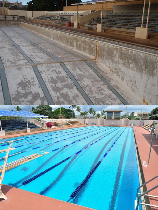 Sakamoto Pool, before and after. Photo collage courtesy County of Maui.
