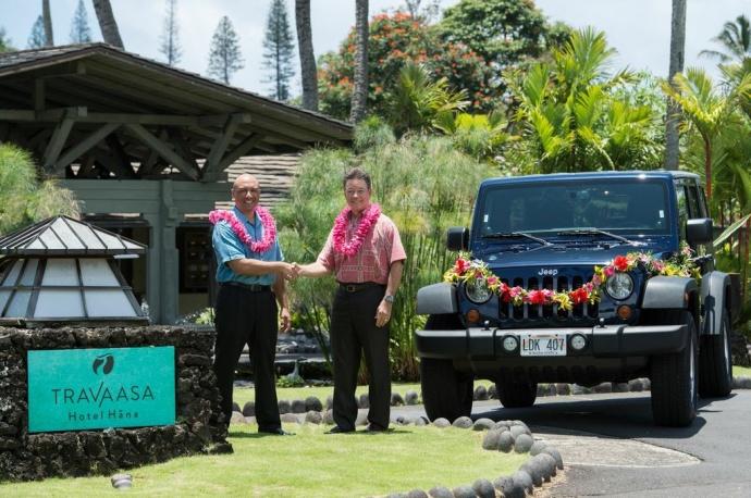 Danny Mynar, General Manager of Travaasa Hana, and John Foy, Area Sales Manager for Enterprise Rent-A-Car, announce a new rental car partnership at Travaasa Hana. CREDIT: Travaasa Hana, Maui