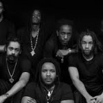 """Top row from L to R is Julian Marley, Black-Am-I, Wayne Marshall and Christopher Ellis. Front row from L to R is Damian """"Jr. Gong"""" Marley, Stephen """"Ragga"""" Marley and Jo Mersa."""