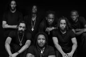 "Top row from L to R is Julian Marley, Black-Am-I, Wayne Marshall and Christopher Ellis. Front row from L to R is Damian ""Jr. Gong"" Marley, Stephen ""Ragga"" Marley and Jo Mersa."