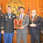 Lieutenant Governor Shan Tsutsui today officially received the Charles Dick Medal of Merit Award, one of the highest awards given by the National Guard Association of the United States. Pictured Left to Right are:  Colonel Bob Lesher, Rep. Mark Takai, Lt. Gov. Shan Tsutsui, Gov. Neil Abercrombie and U.S. Senator Dan Akaka.  Photo Courtesy:  Office of the Lieutenant Governor Shan Tsutsui.